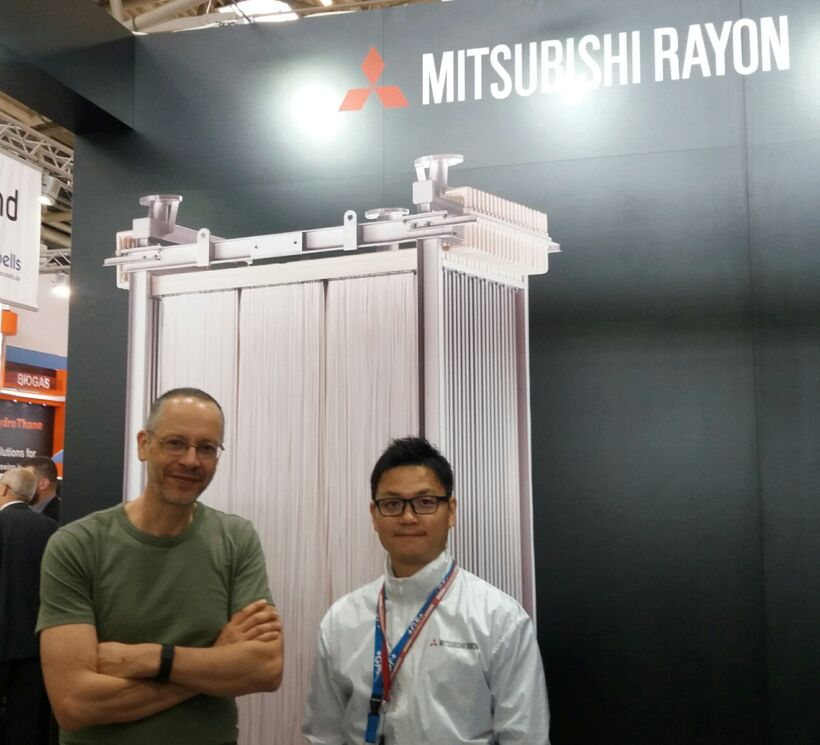 Figure 1:  At the Mitsubishi Rayon Aqua Solutions Co.,Ltd stand with Mr Doi, exhibiting the STERAPORE hollow fibre membrane series | Blog June 16 Ifat Munich Report 2016 Fig 1