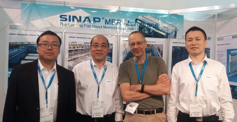 Figure 2:  Meeting Adams Li, Liang Guoming (General Manager) and Wayne Xu of Shanghai SINAP Membrane Tech Co.,Ltd | Blog June 16 Ifat Munich Report 2016 Fig 2