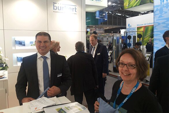 Figure 3:  Majk Milovic of CUT Membrane Technology GmbH (part of the Burkert Group) with Claire Judd at IFAT Munich 2016 | Blog June 16 Ifat Munich Report 2016 Fig 3
