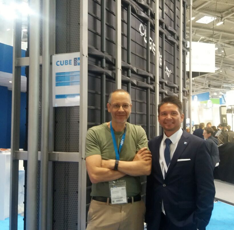 Figure 5:  With Daniel Crawford, CEO of Martin Membrane Systems, and the Cube MBR system (I recommend their ice cream) | Blog June 16 Ifat Munich Report 2016 Fig 5