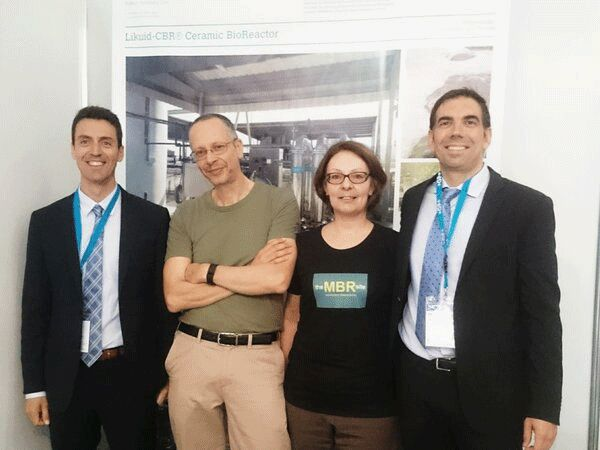 Figure 6:  Antonio Sempere and Alfredo Crespo of Spain's Likuid Nanotek S.L. with Claire Judd and Simon Judd | Blog June 16 Ifat Munich Report 2016 Fig 6