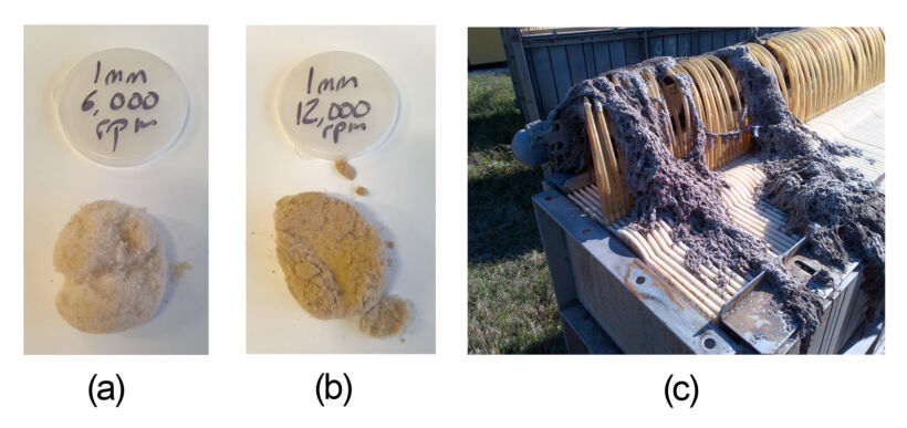 Figure 1: (a) and (b) Richard's 'dust bunnies' from using a centrifugal mill; (c) Rags formed on an MBR (courtesy Jim Impero/Ovivo) | Blog Nov 17 Origins Of Ragging Fig 1