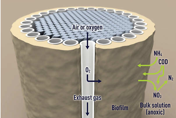 The ZeeLung MABR cord and filaments, with the passage of oxygen and air illustrated