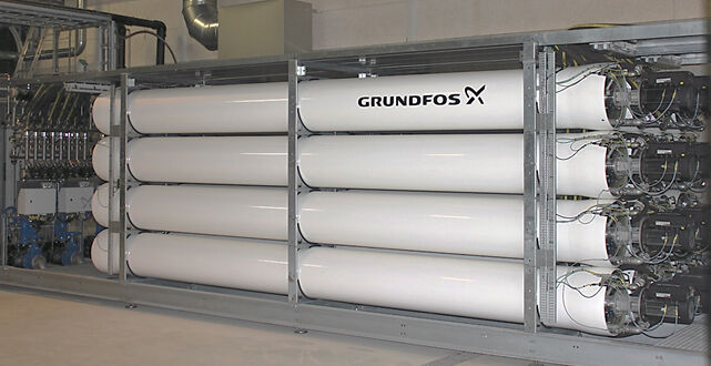 Figure 2.  Grundfos BioBooster ultrafiltration membrane units (MFUs) packed in a skid | Feat Arla Factory Fig 2