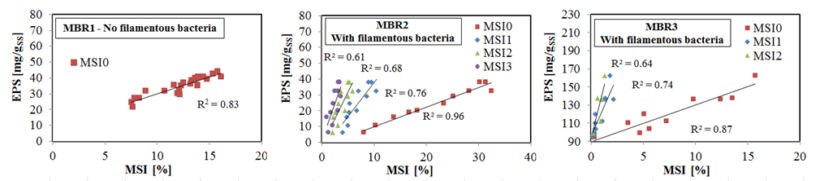 Figure 5.  MSI and EPS correlation (adapted from Di Bella and Torregrossa 2013)   Feat Foaming In Mbrs Fig 5