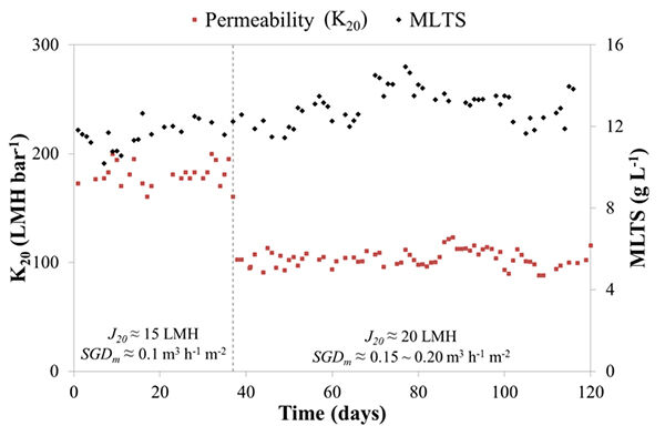 Figure 5.  K<sub>20</sub> profile for 15 and 20 LMH operation around 13 g/L MLTS | Feat Immersed Anaerobic Mbrs Fig 5