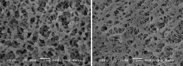 Figure 4.  Scanning electron micrograph of virgin material and recovered membrane | Feat Mbr Panel Cleaning Fig 4