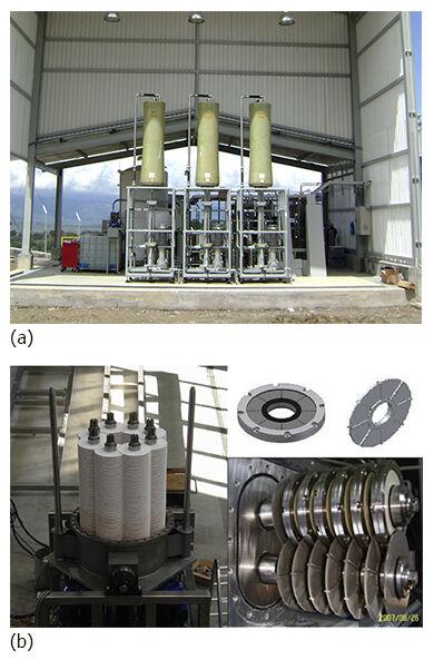 Figure 2.  (a) The V-Sep VDF (courtesy of New Logic Research), and (b) Westfalia MSD RDF membrane technologies | Feat Mechanical Shear Fig 2Ab