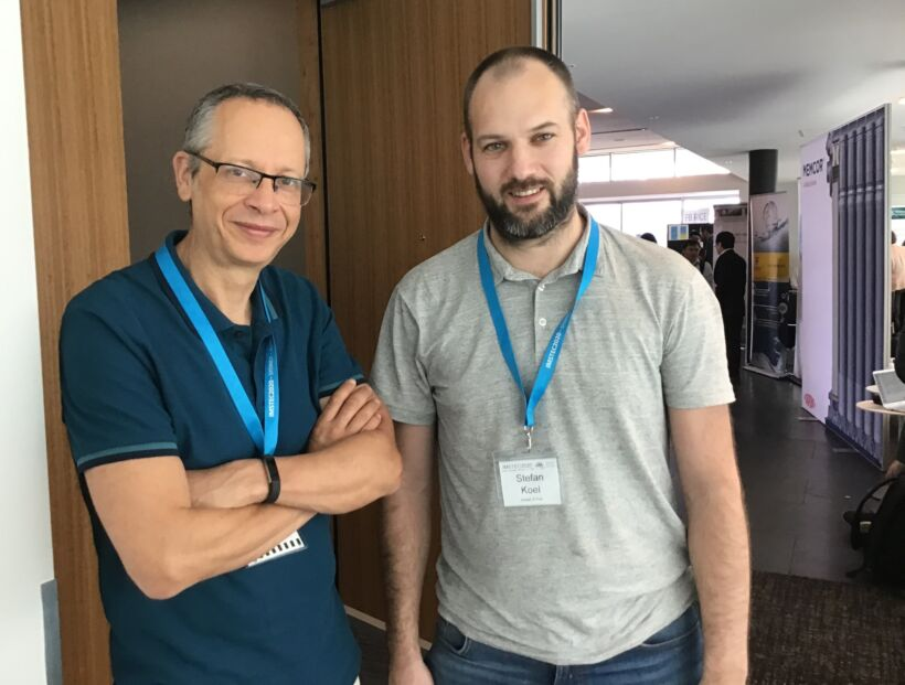 Figure 5.  Top: Simon Judd and IMSTEC co-chair Pierre Le-Clech. Below: Simon with Stefan Koel of Pentair   Features imstec 2020 fig 5b