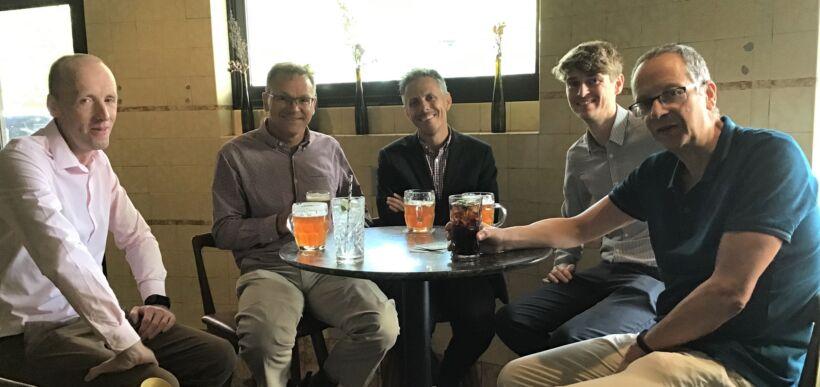 Figure 6. Cranfield University past and present (left to right): Ewan McAdam, Richard Stuetz, Pierre Le-Clech, Chris Davey and Simon Judd | Features imstec 2020 fig 6