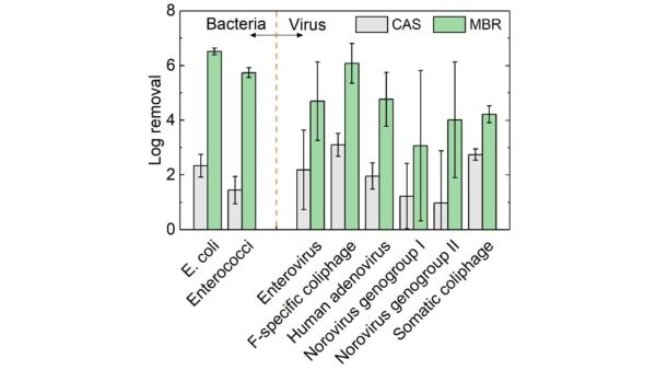 Figure 7. Removal of pathogenic bacteria and viruses, CAS vs. MBRs, based on published data for full-scale installations