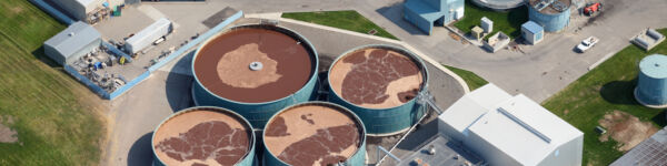 Image of a wastewater treatment plant from above