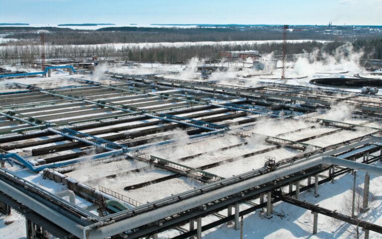 Activated sludge plant, aerial view