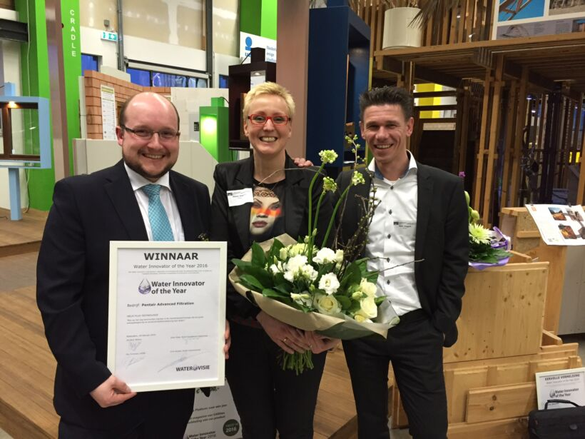 From left to right: Jens Potreck (R&D Manager X-Flow), Marion Slaghuis (Communication Coordinator) and Mark Steggink (Global Sales Director Engineered Membrane Systems) | News Feb 16 Pentair Named Water Innovator Of The Year At Water Vision Congress