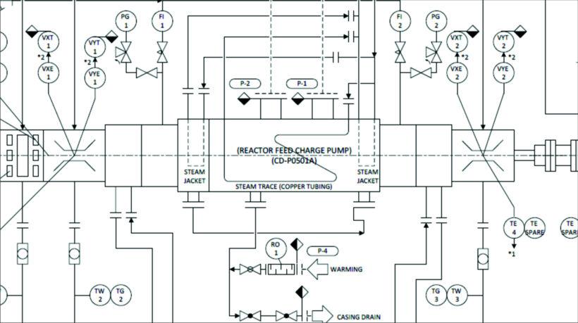 Fig 1.  Example of Ebara's Visio P&ID Process Designer | News march 2020 ebara visio