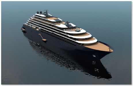 Figure 1.  The Ritz-Carlton Yacht Collection vessel. Renderings are artists' concepts. Features and specifications are subject to change | News Feb 2018 Evacs Complete Cleantech Solution Selected For New Ritz Carlton