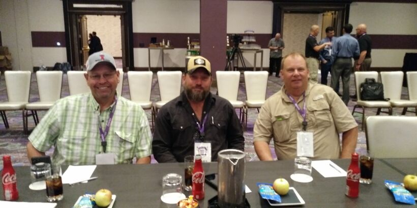 Fig 5: Three more good looking dudes: Adam Gonzales, Rick Hazel and James Griffis from Canyon Lake/The Grove were attending the MBR Operators' workshop for the second time to expand on their MBR knowledge and experience.   News May 2018 Ovivo Rocks Data Fig 5