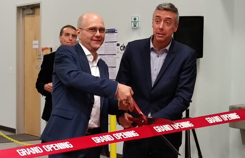 Fig 2: Walter Lamparter, CEO of MICRODYN-NADIR, and Marc Barbeau, CEO of Ovivo, perform the honours at the opening ceremony. | News May 18 Microdyn Opens Plant Fig 2