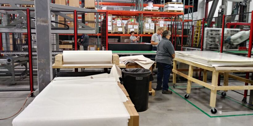 Fig 4: Membrane sheets ready for processing. | News May 18 Microdyn Opens Plant Fig 4