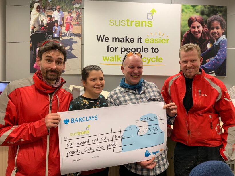 Aquabio's SHIFT team presents a donation to the Sustrans cycling charity | News Feb 2019 Aquabio Shifts Up A Gear