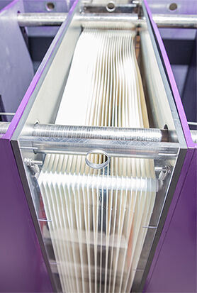 An image of the Ovivo flat sheet membrane module − an example of a composite panel.
