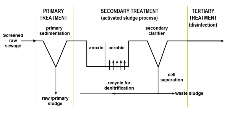 An image showing primary treatment (primary sedimentation), secondary treatment (activated sludge process)and tertiary treatment (disinfection) stages for a feed of screened raw sewage