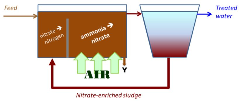 Figure 1.  N removal by the Modified Ludzack−Ettinger process | About Mbrs Simon Judd Biotreatment Process Configurations 1