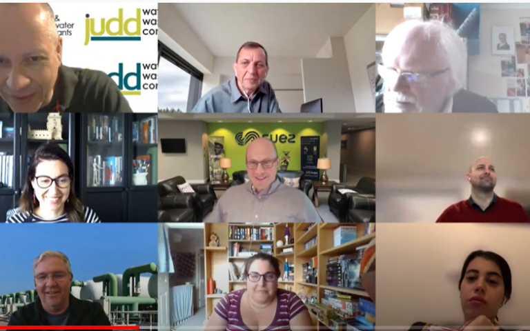 Screenshot of our event on membranes and micropollutants showing a Zoom meeting with headshots of nine of the participants.